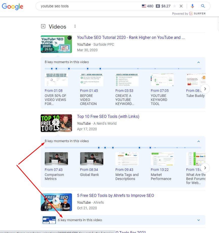 Video SEO Google Search Key Moments table of contents chapters timestamps